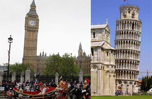عکس:برج ساعت لندن کج شد