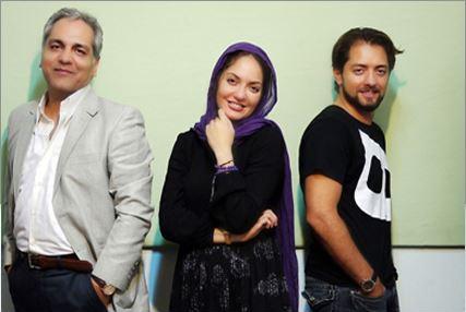 مدل لباس عقد شهرزاد با فرهاد عکس یادگاری سه نفره بهرام رادان، مهناز افشار و مهران مدیری