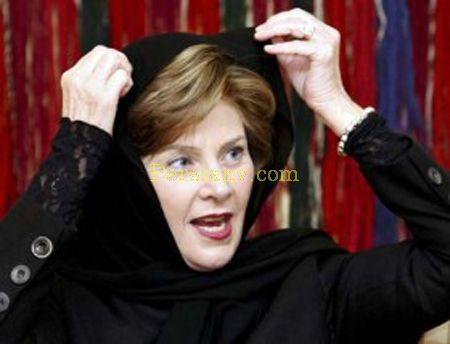 عکس : لورا بوش همسر بوش با حجاب