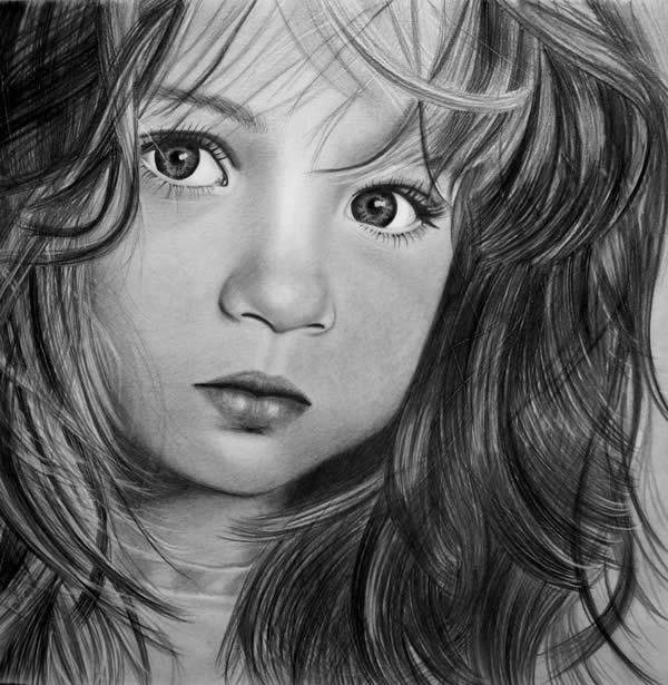 ضرب المثل با نقاشی عکس:نقاشی پرتره های زیبا از چهره کودکان