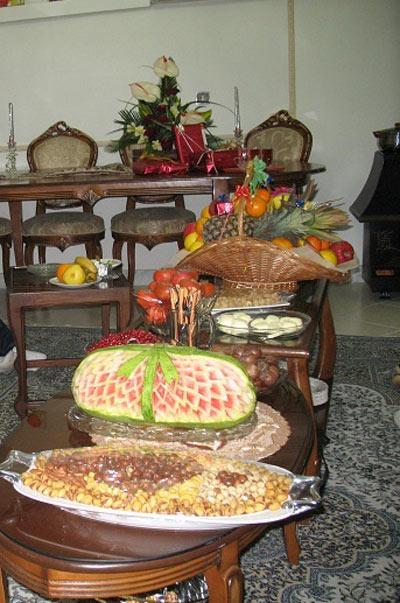 نمونه ای از تزیینات شب یلدا برای عروس خانم ها