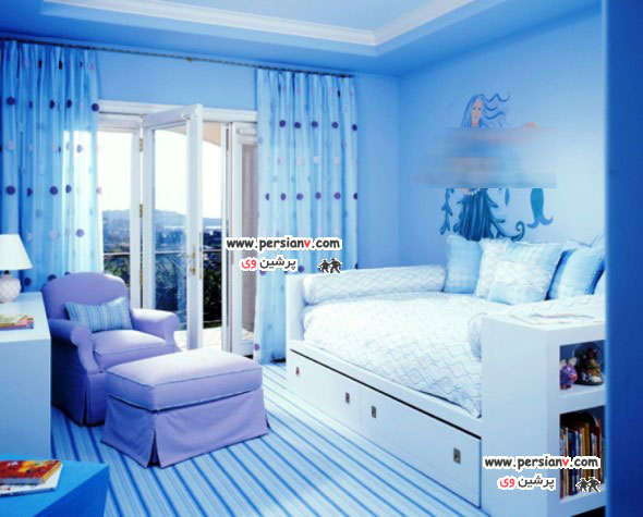 ایده های زیبا برای دکوراسیون اتاق خواب آبی رنگ +عکس