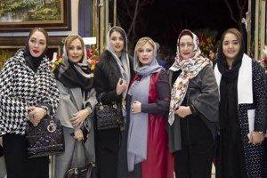 تجلیل نیوشا ضیغمی و همسرش با همراهی بازیگران سینما از اساتید قلمزنی در گالری پولادخان