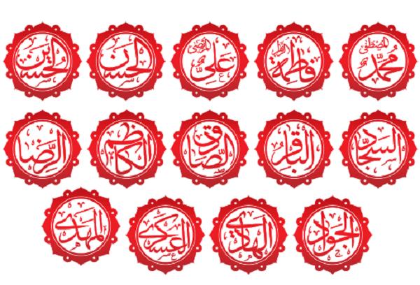 اسماء چهارده معصوم به ابجد کبیر