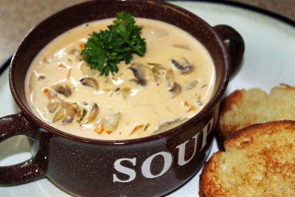 سوپ قارچ و مرغ