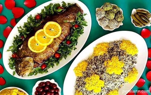 سبزی پلو با ماهی شیر