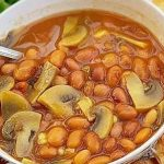 خوراک لوبیا با قارچ و سیب زمینی