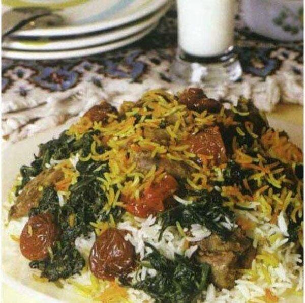 پخت اسفناج با برنج