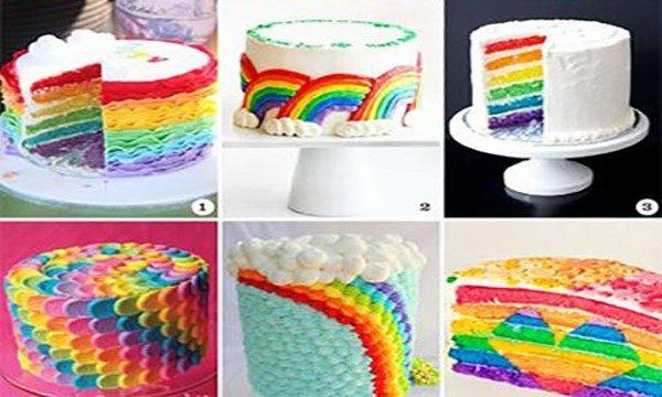 کیک بستنی رنگارنگ