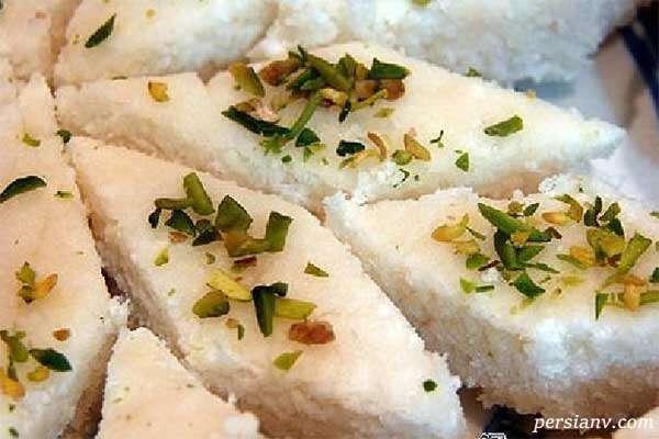 لوز نارگیل خانگی شیرینی مخصوص عید