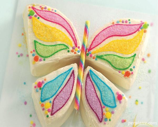تزیین کیک تولد به شکل پروانه
