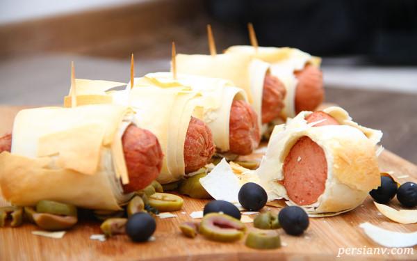 غذایی ساده ، خوشمزه و بسیار زیبا با سوسیس