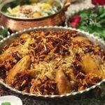 عدس پلو عربی با مرغ