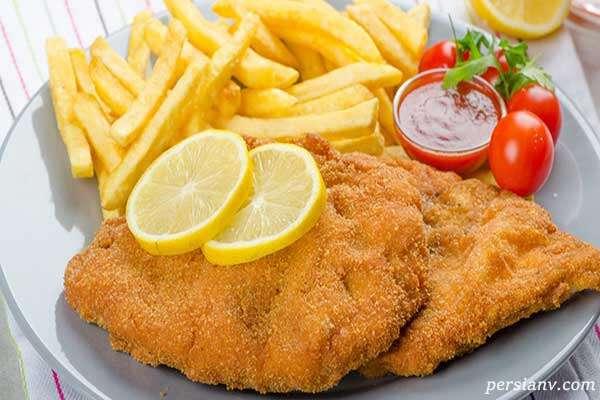 طرز تهیه شنیتسل ماهی برای شب عید