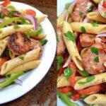 خوراک ماکارونی پیچ با سوسیس و قارچ