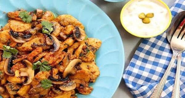 خوراک مرغ و قارچ رژیمی خوش طعم