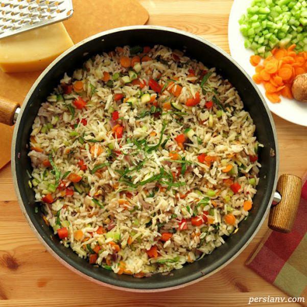 طرز تهیه پلوی مخلوط با سبزیجات