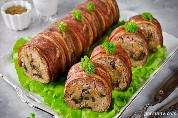رولت گوشت مجلسی بدون فر