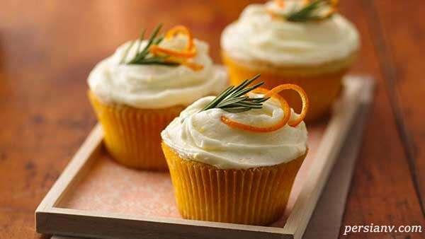 طرز تهیه کاپ کیک پرتقالی خوشمزه با رویه وانیلی