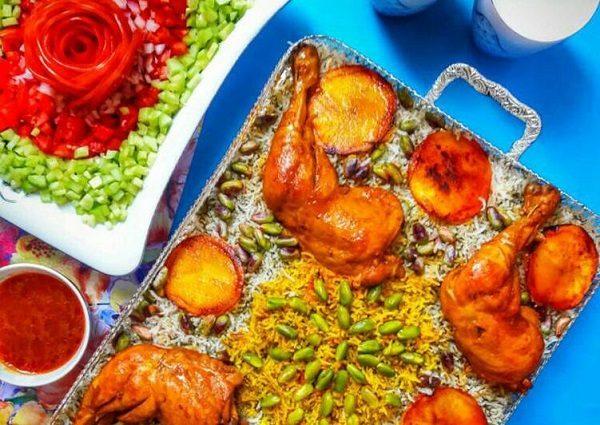 طرز تهیه پسته پلو با فیله مرغ / یک شام مجلسی با مرغ برای افطار