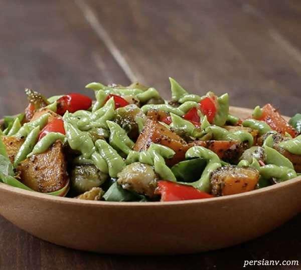 سالاد سبزیجات سرخ شده