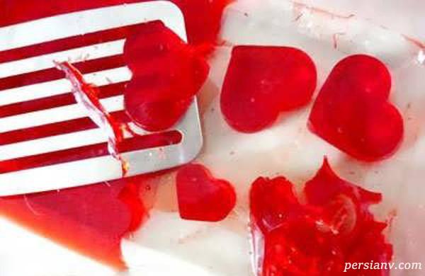ژله دو رنگ قلبی