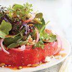 سالاد استیک هندوانه ، این سالاد برای شب یلدا بسیار مناسب است