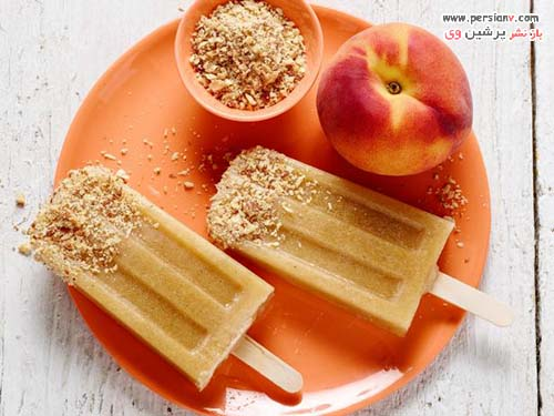 بستنی چوبی میوه ای هلو و بادام