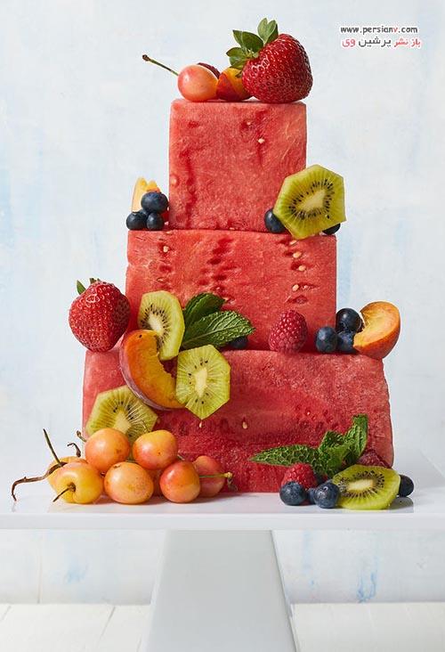 کیک با میوه هندوانه