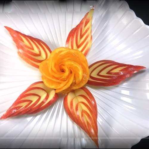 آموزش تصویری تزئین میوه شب یلدا با گل پرتقال