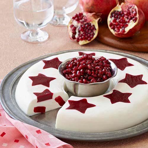 دسر انار شب یلدا به شکل ستاره رژیمی و خوشمزه