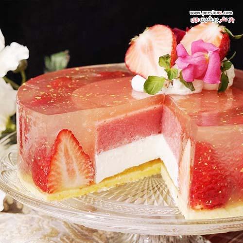 کیک ژله توت فرنگی