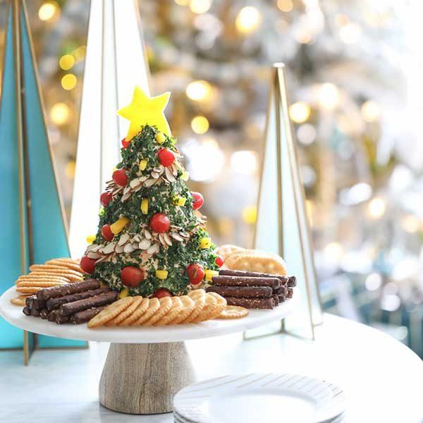 آموزش تزیین پنیر سبزی به شکل درخت کریسمس