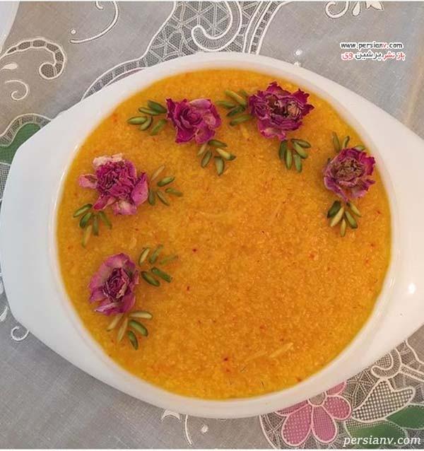 تزیین شله زرد با گل محمدی