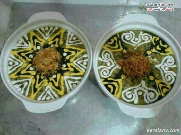 تزیین کشک بادمجان در ظرف گرد
