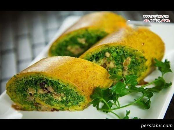 تزیین کوکو سبزی در نان باگت