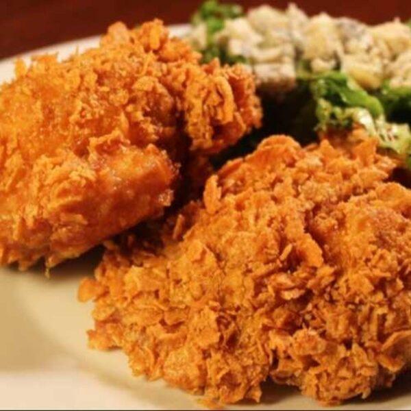 مرغ سوخاری با کورن فلکس