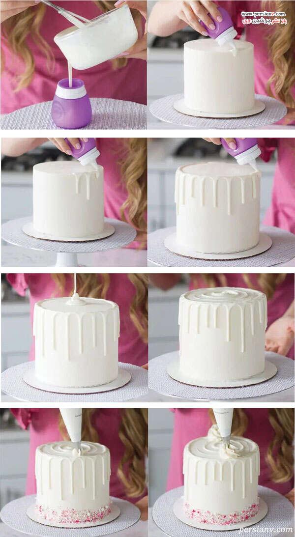 نحوه خامه زدن روی کیک