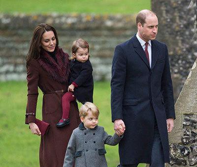 کیت میدلتون و همسر و فرزندانش در مراسم مذهبی روز کریسمس