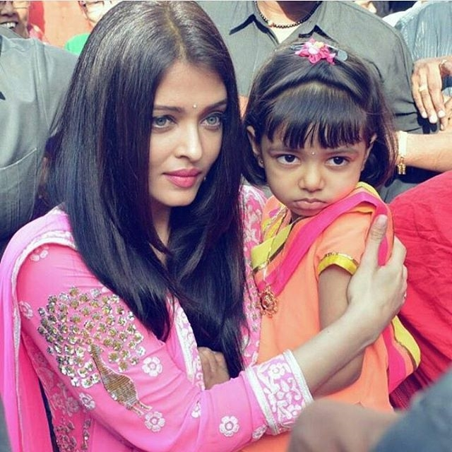 عکس بسیار دیدنی آیشواریا رای در کنار دختر بانمکش!