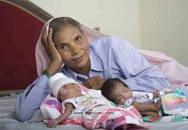 عکس دیدنی : زایمان عجیب این زن در ۷۰ سالگی آن هم دو قلو
