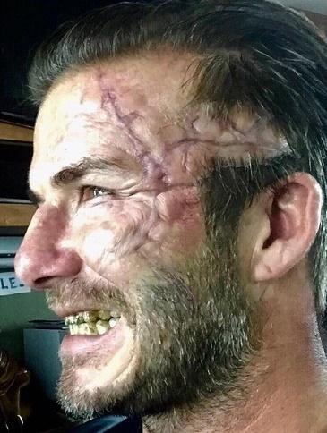 دیوید بکهام و انتشار یک عکس با گریم وحشتناک و عجیب در فیلم آرتور شاه