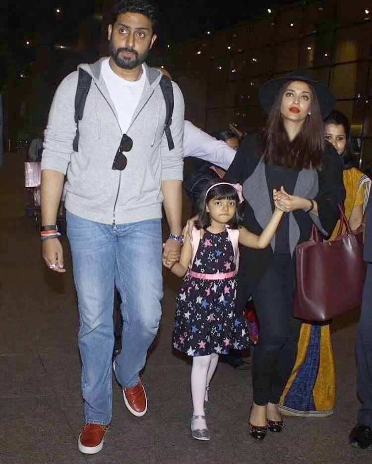 آیشواریا رای درکنار همسرش آبیشک و دخترش آرادیا پس از بازگشت از دوبی+عکس