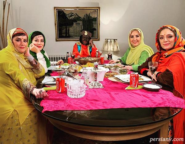 دورهمی شام ایرانی خانم های بازیگر با تم هندی تا هلیا و نقاشی (۳۰۷)