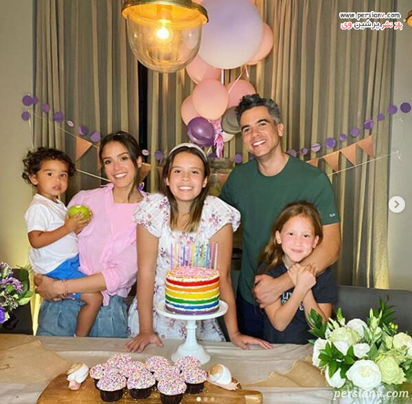 جسیکا آلبا و خانواده اش