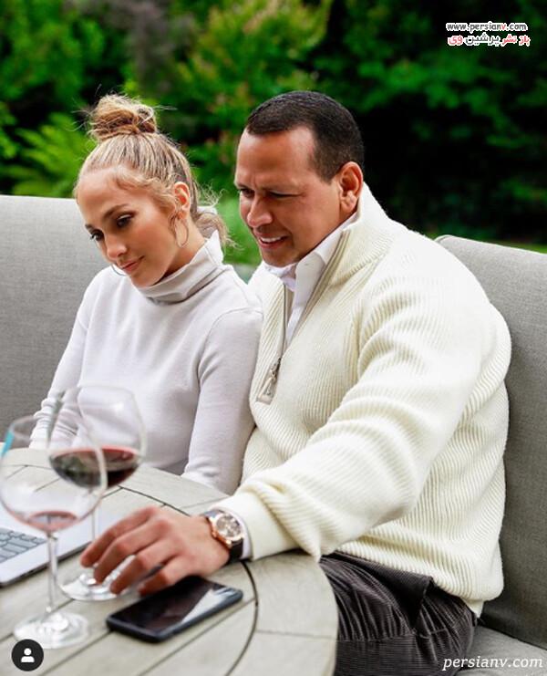 عکس جنیفر لوپز خواننده و نامزدش