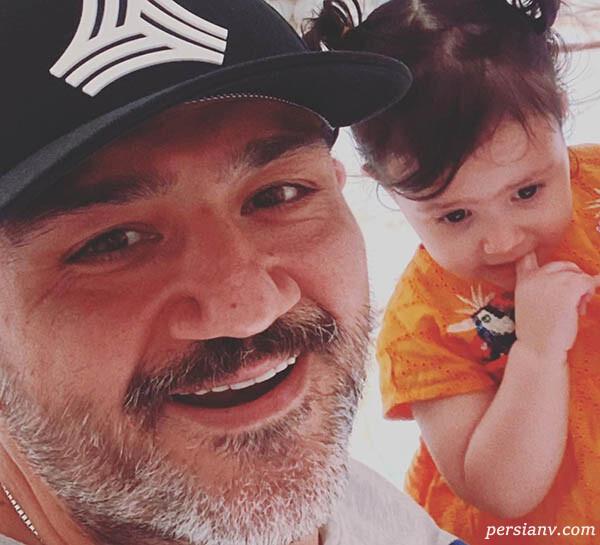 مهران غفوریان و دخترش هانا تا تبریک برد شیرین پرسپولیسی ها