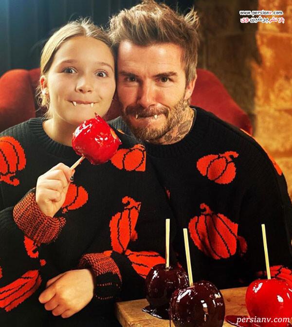 دیوید بکهام و دخترش هارپر