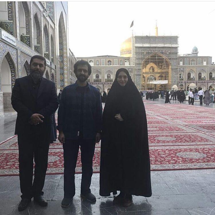 بهنوش طباطبایی و بهروز شعیبی در حرم امام رضا +عکس