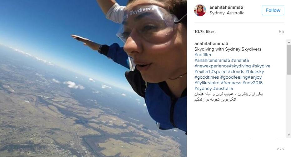 آناهیتا همتی درحال چتربازی در استرالیا! عکس